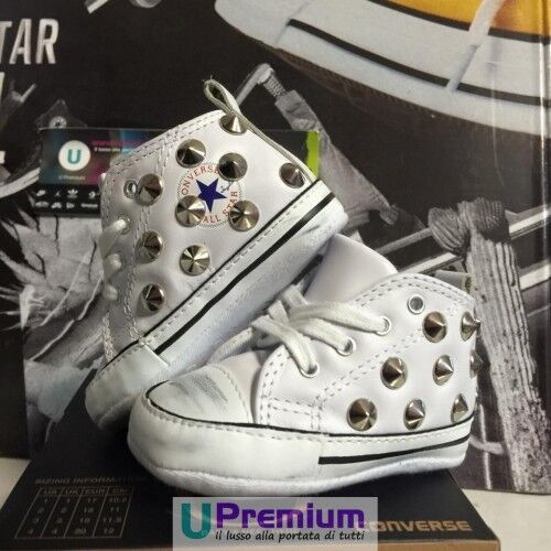 Converse All Star Newborn Leather White Studs Silver Shoes Studded ORIGINA