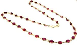 Sterling-Silver-Yellow-Gold-Plated-Natural-Rose-Garnet-9-43ct-Necklace-925