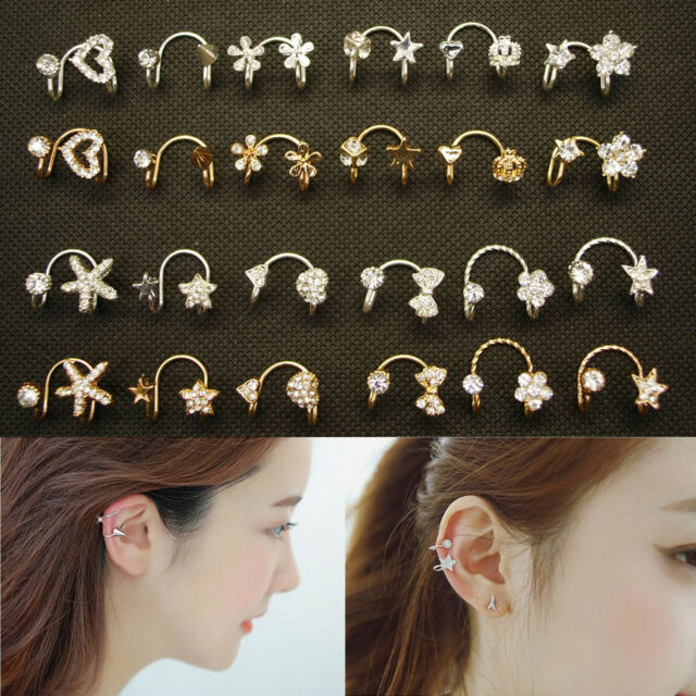 Charm Lady Heart Bow Rivet Star Butterfly Flower Ear Cuff Warp Clip Ear Stud HG