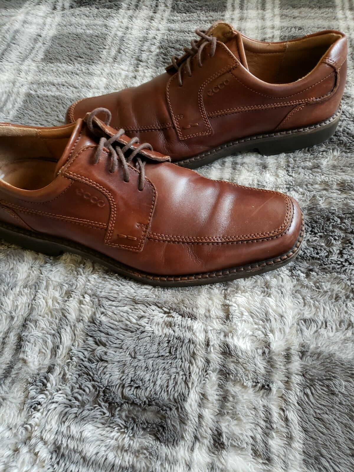 Ecco Oxford Brown Leather Mens Size 10.5US 44EUR shock point Really Nice