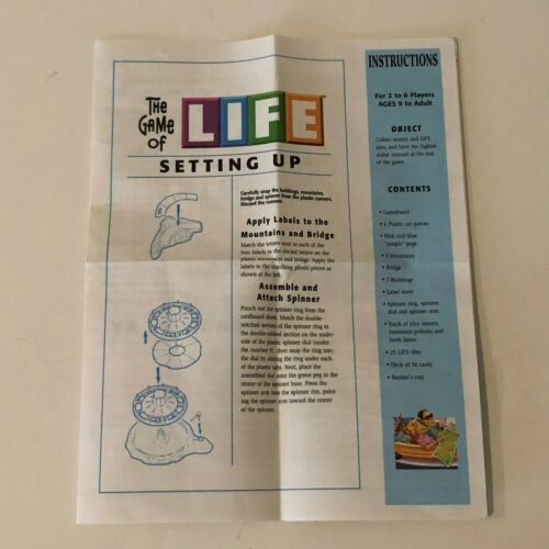 Game of Life Board Game Replacement Parts Pieces Cars Money Cards Buildings