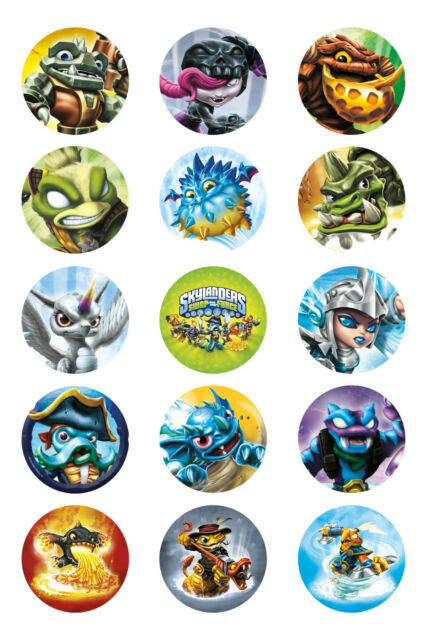 Skylander Swapforce BADGE Metal Buttons Party Favour Lolly Bag Loot Birthday C