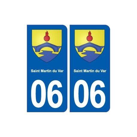 06 Saint Martin du Var blason ville autocollant plaque stickers -  Angles : arro