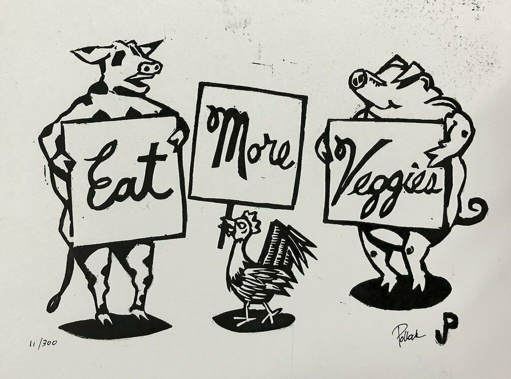 Jim Pollock - Eat More Veggies - Linocut Print Signed Numbered Poster SHIPS FAST on eBay thumbnail
