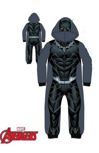 Boys Kids Black Panther Pyjama Sleepsuit All in One Character Outfit