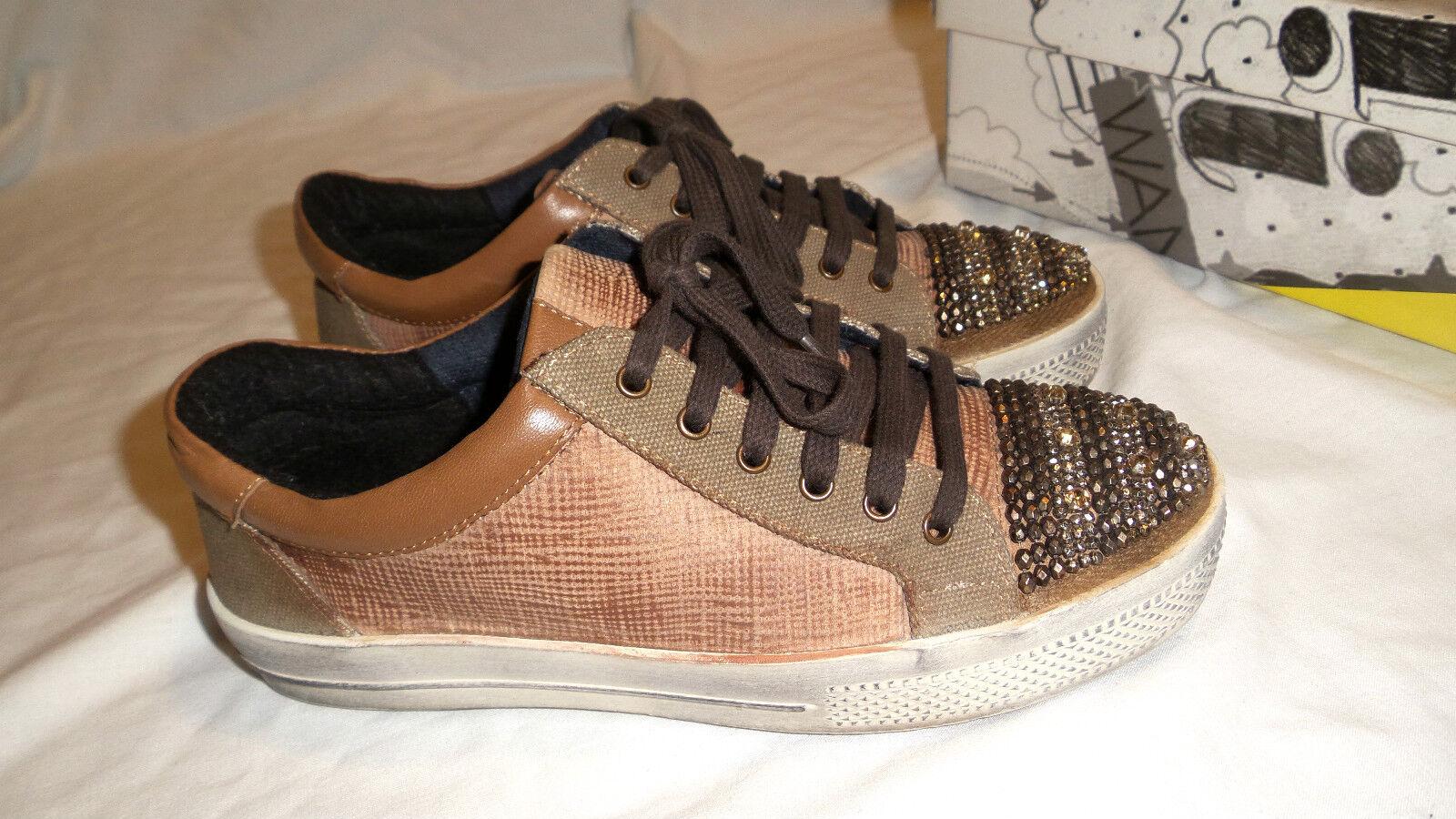 xyxyx by heine Echtleder Sneaker braun Gr.36 mit Strass und Schmucksteinchen