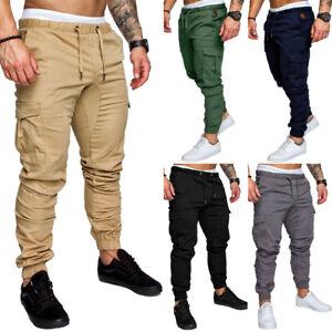Men-039-s-Slim-Long-Tactical-RipStop-Trousers-Casual-Pencil-Jogger-Cargo-Chino-Pants