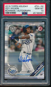 PSA 10 IZZY WILSON AUTO 2019 Topps Bowman Holiday Autograph #/99 RC GEM MINT