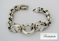 Sterling Silver Bracelet With Twin Elephant Heads With Bold Heavy Links 7 1/