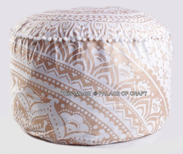Indian Gold Ombre Mandala Ottoman Pouf Cover Indian Living Room Best Indian Pouf Covers