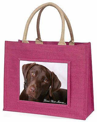 Schoko Labrador 'Liebe, die Sie Mama' Große Rosa Einkaufstasche Weihnachten,