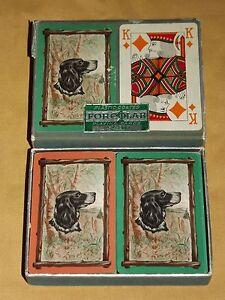 VINTAGE-1947-2-DECKS-FORCOLAR-DOG-SPRINGER-SPANIEL-PLAYING-CARDS