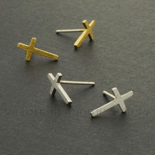 Petite Cruz Pendientes en plata Crucifijo Jesús Regalo oro o placa de oro rosa