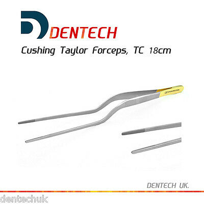 "TC CUSHING TAYLOR FORCEPS ANGLED TWEEZERS SERRATED 18cm 8"" SURGICAL TUNGSTEN NEW"