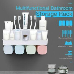 Toothpaste-Dispenser-Toothbrush-Holder-No-Drill-Wall-Mount-Bathroom-Storage-Rack