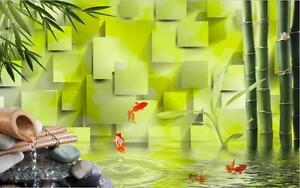 Details about  /3D Flower bloom yellow fish wallpaper Decal Dercor Home Kid Nursery Mural  Home