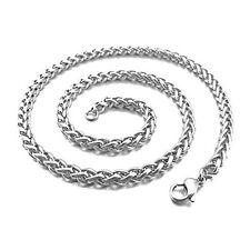 4.0mm Breite Edelstahl Halskette Weizen Kette Link Silber 55cm Herren M1F5