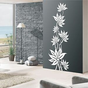 wandtattoo banner ranke blumen bl ten wohnzimmer deko flur wandaufkleber ht 499 ebay. Black Bedroom Furniture Sets. Home Design Ideas