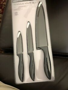 Crofton Titanium 3 Knife Set Paring Serrated Utility Chef 4099100080902 Ebay