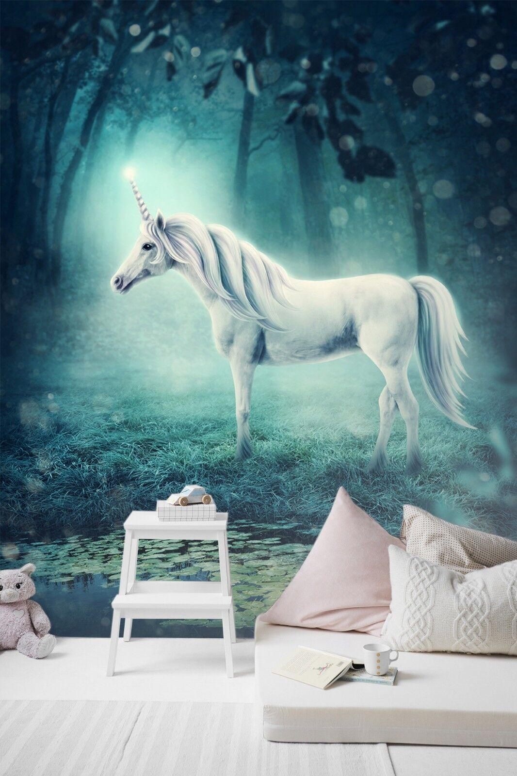 3D Fog Forest Unicorn 78 Wallpaper Mural Print Wall Indoor Wallpaper Murals UK