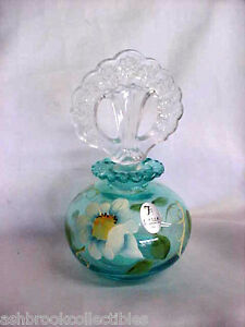 Fenton-Art-Glass-Hand-Painted-Copper-Blue-Perfume-Bottle-with-Stopper-5309ME
