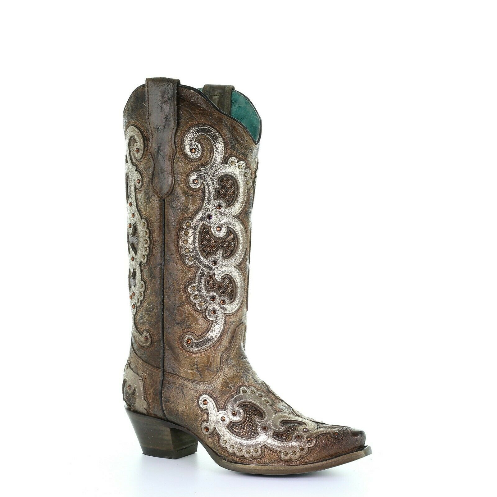 Corral Ladies Brown & Grey Overlay Embroidery & Studs Boots E1509
