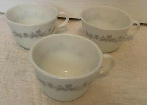 Vintage Pyrex Ribbon Bouquet Set Of 3 Coffee Tea Cups White Gray Floral