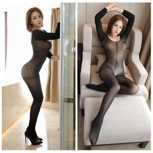 Women-Sheer-Bodysuit-Leotard-Crotchless-See-Through-Catsuit-Jumpsuit-Erotic-Sexy