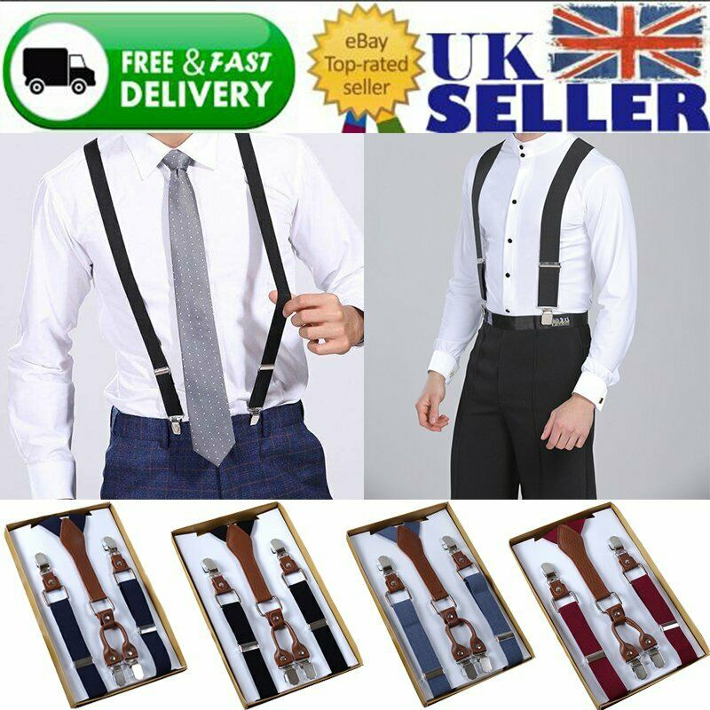 25mm Unisex Suspenders Plain Adjustable Trouser Braces Clip Men Women Heavy Duty