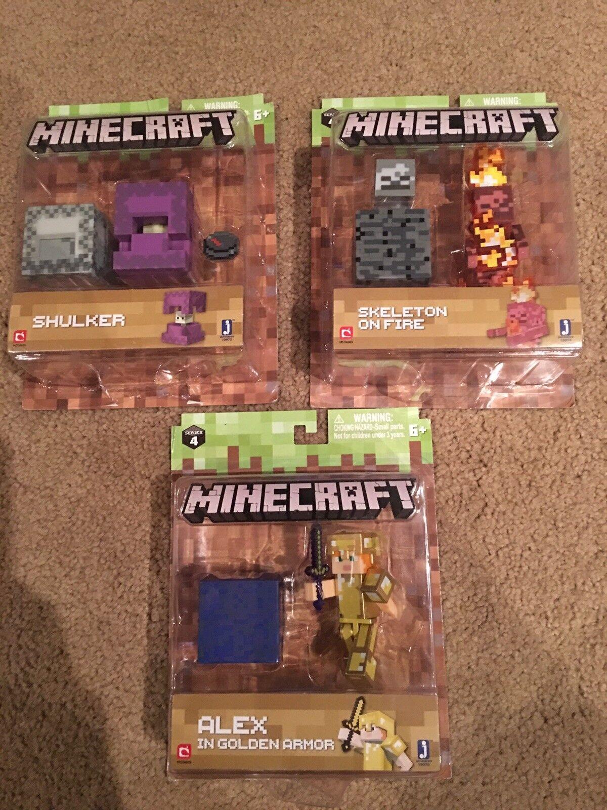 Minecraft series 4 figures lot of 3 Alex golden Armor Skulker Skeleton On Fire