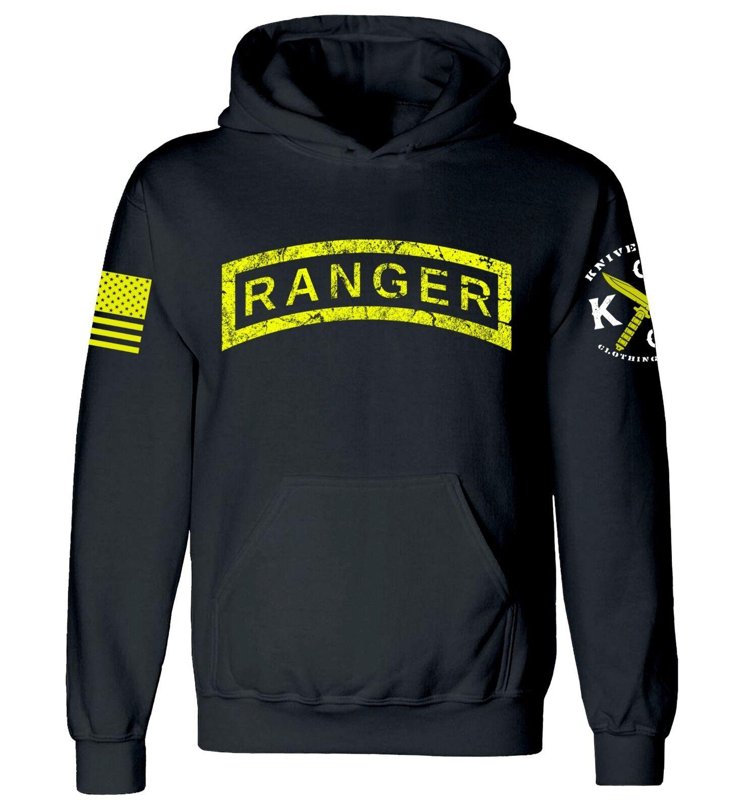 Distressed Ranger Tab Hooded Sweatshirt I US Army Ranger I Veteran I Military