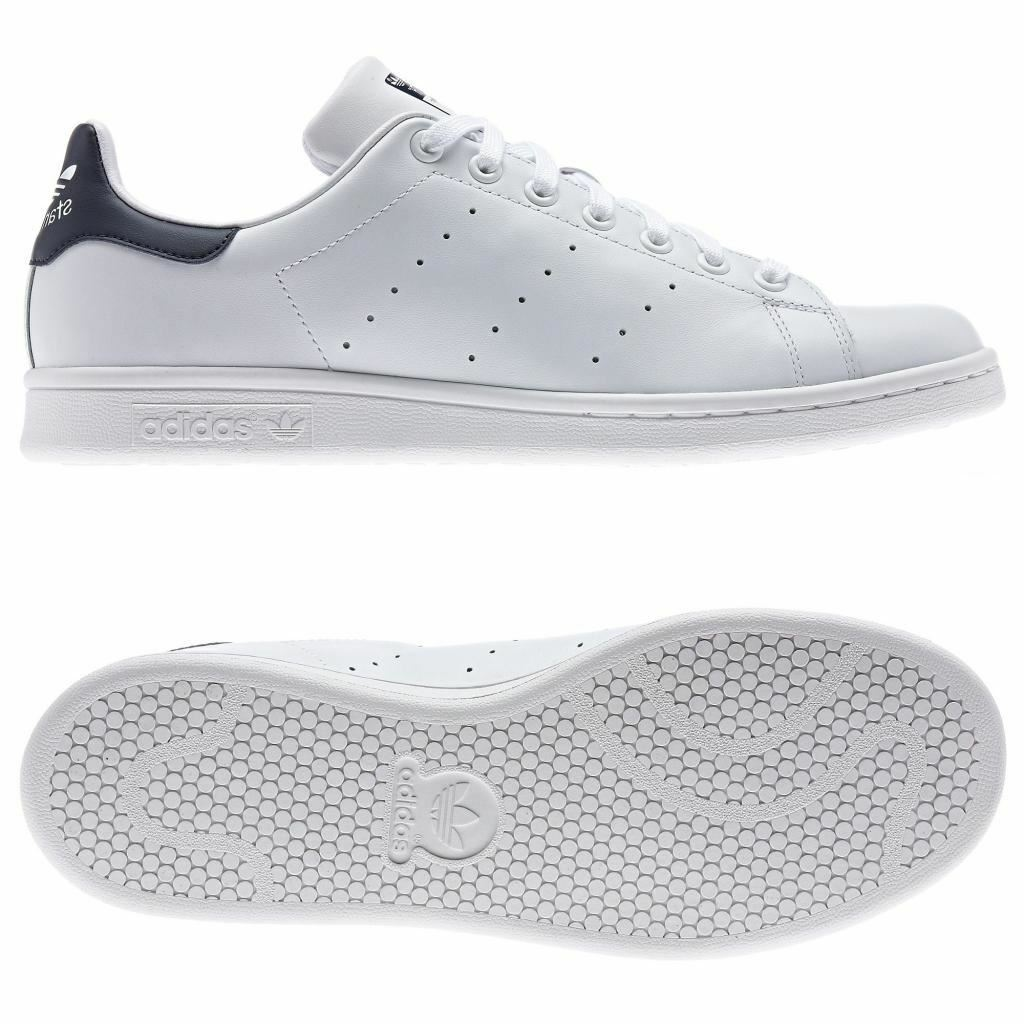 Adidas ORIGINALS STAN SMITH TRAINERS UK SIZES 7-12 WHITE blueE MEN'S S CLASSICS