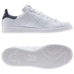 Adidas-Originaux-Stan-Smith-Baskets-Tailles-Ru-7-12-Blanc-HOMMES-BLEU-S