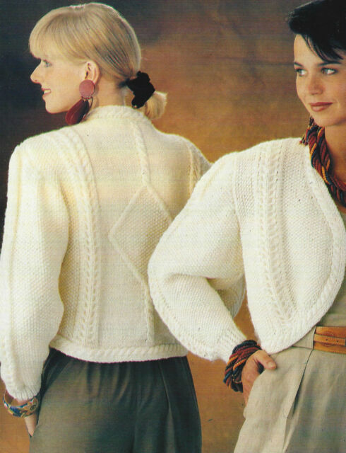 Ladies Bolero Knitting Pattern 32 38 Aran Diamond Detail Cable