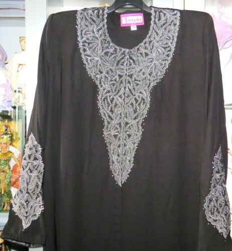 Abaya Molto Dubai bello Djellaba Black Oriental Strass Nuovo Dress pOwqHEHxZ
