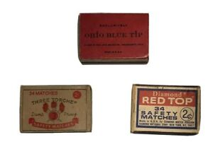 Lot-Of-3-Vintage-Match-Boxes-With-Matches-Three-Torche-Ohio-Blue-Tip-Red-Top
