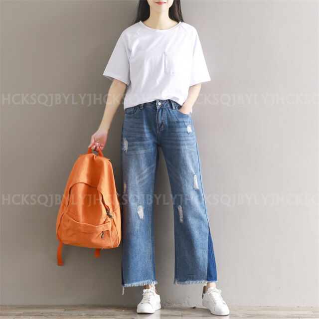 Women Trousers Wide Leg Jeans Nine Points Frayed Denim Overalls Cropped Pants