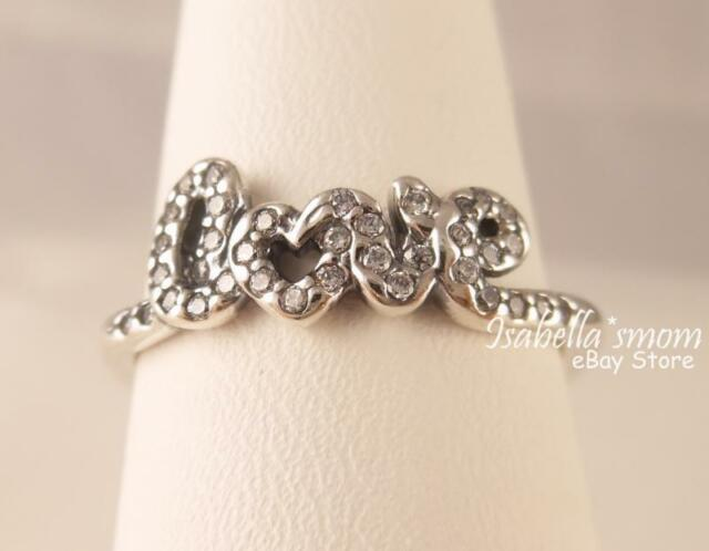 3771d8897 Valentine SIGNATURE OF LOVE Genuine PANDORA Silver/CLEAR CZ Ring 5/50 NEW