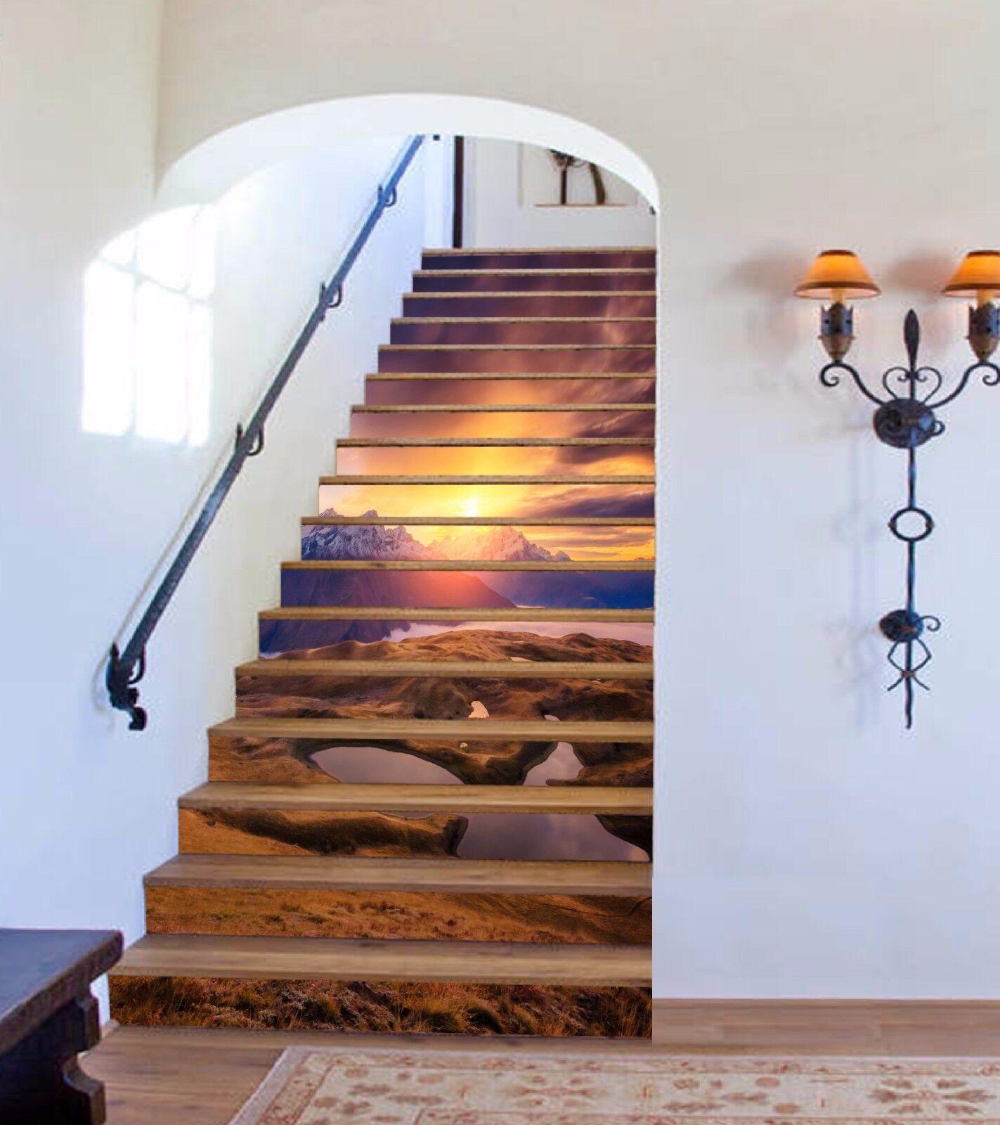 3D Sunrise Mountain 137 Risers Decoration Photo Mural Vinyl Decal Wallpaper CA
