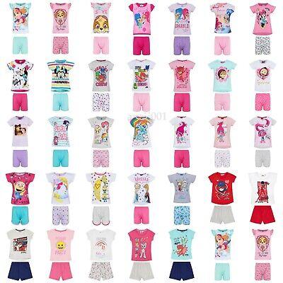 Girls Kids Baby Toddler Characters Pyjamas pjs Short Sleeve T-Shirt Shorts Set