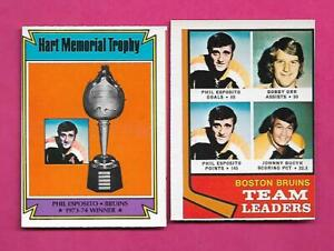 1974-75-OPC-BRUINS-PHIL-ESPOSITO-BOBBY-ORR-EX-MT-CARD-INV-C3643
