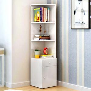 Image Is Loading 3 Tier Corner Shelf Storage Bookcase 1 Drawer