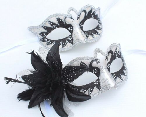 HIS N HERS PAIR OF COUPLES BLACK//SILVER VENETIAN MASQUERADE PARTY EYE MASKS