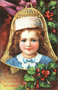 CARTOLINA-D-039-EPOCA-LOVING-CHRISTMAS-WISHES-GOLD-BELL-1910-Riprod