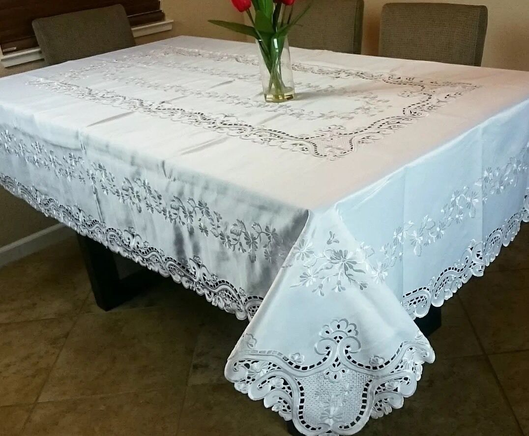72x180 Embroidery Floral Cutwork Embroiderouge Tablecloth Elegant Linen blanc Ecru