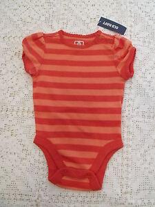 Old-Navy-Baby-Orange-stripe-Bodysuit-Short-Sleeves-3-6-months-Girls-new-NWT-tag
