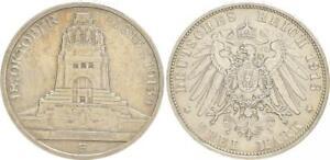Saxony 3 Mark 1913 E Völkerschlachtsdenkmal Xf-Bu (44223)