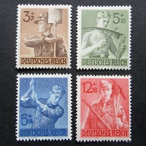 Germany Nazi 1943 Stamps MNH Reich Labor Service Corpsmen Swastika WWII Third Re