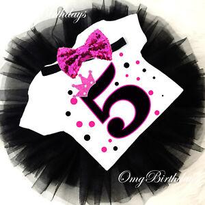 8624574c6ecfc Princess Crown Hot Pink Black 5th Fifth Birthday Girl Tutu Outfit ...