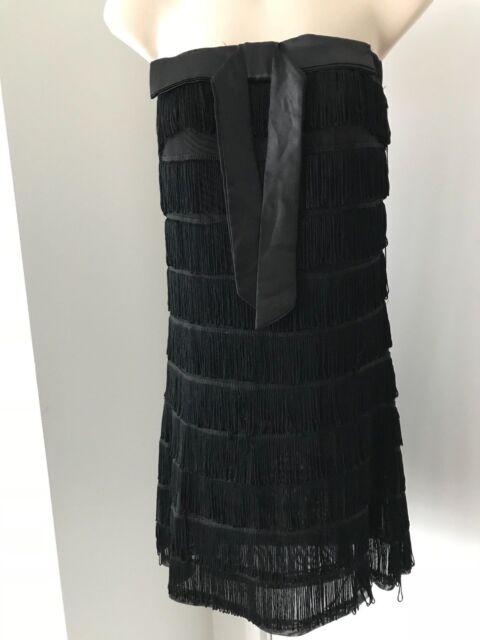 MIRROR Black stretch Gatsby tasseled cocktail party dress S